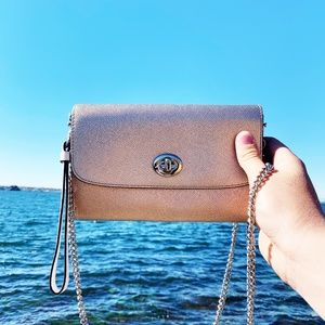 Coach Metallic Leather Turn-Lock Crossbody Bag